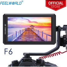 كاميرا من feel world F6 مقاس 5.7 بوصة بمنفذ DSLR بدقة 1920X1080 بدقة 4K HDMI مع خاصية التركيز عند ذروتها رقيقة للغاية مع مخرج طاقة بذراع مائل
