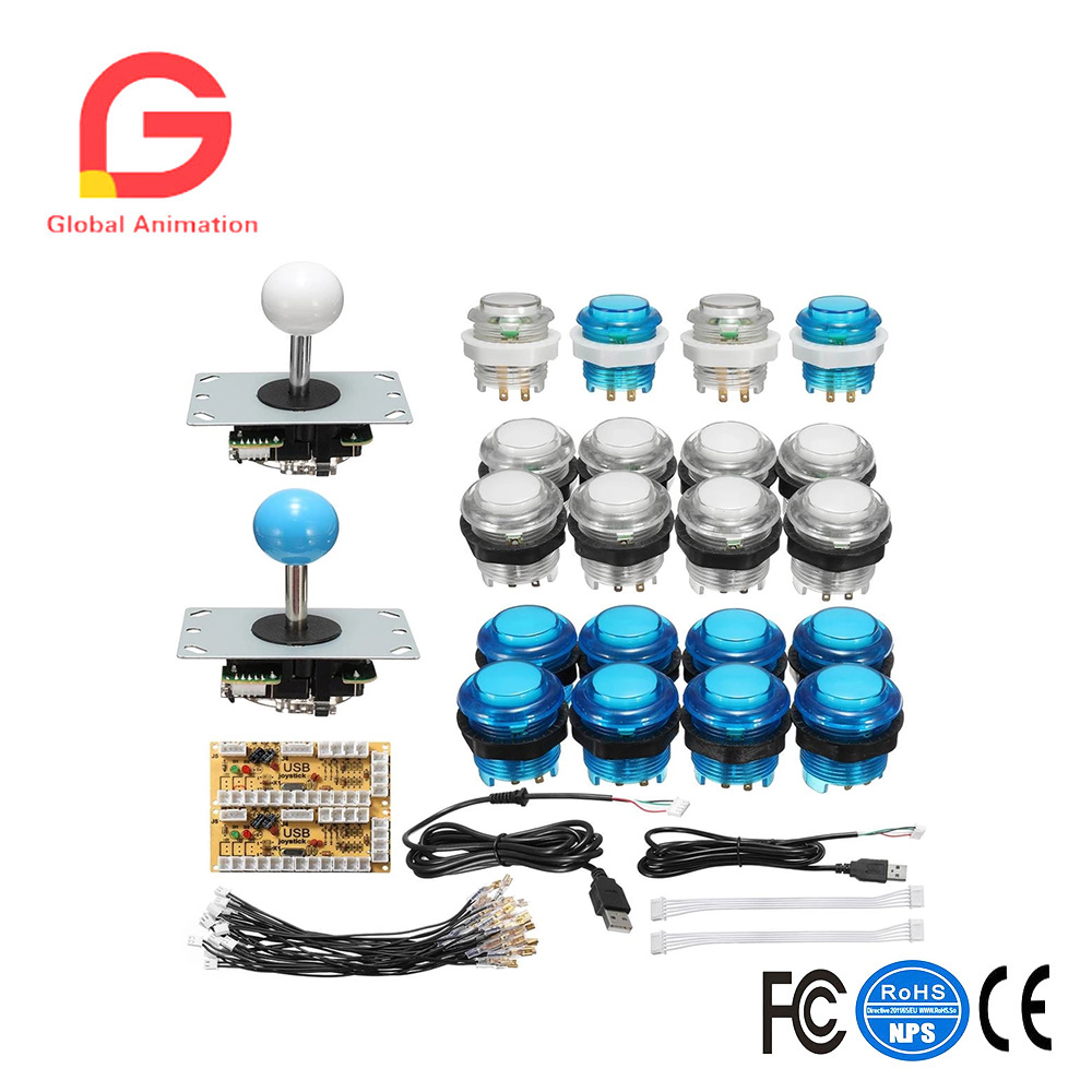 DIY Arcade Joystick Kit Parts With LED Push Button + Joystick + Zero Delay USB Encoder + Cables Game Joystick Arcade DIY Kits