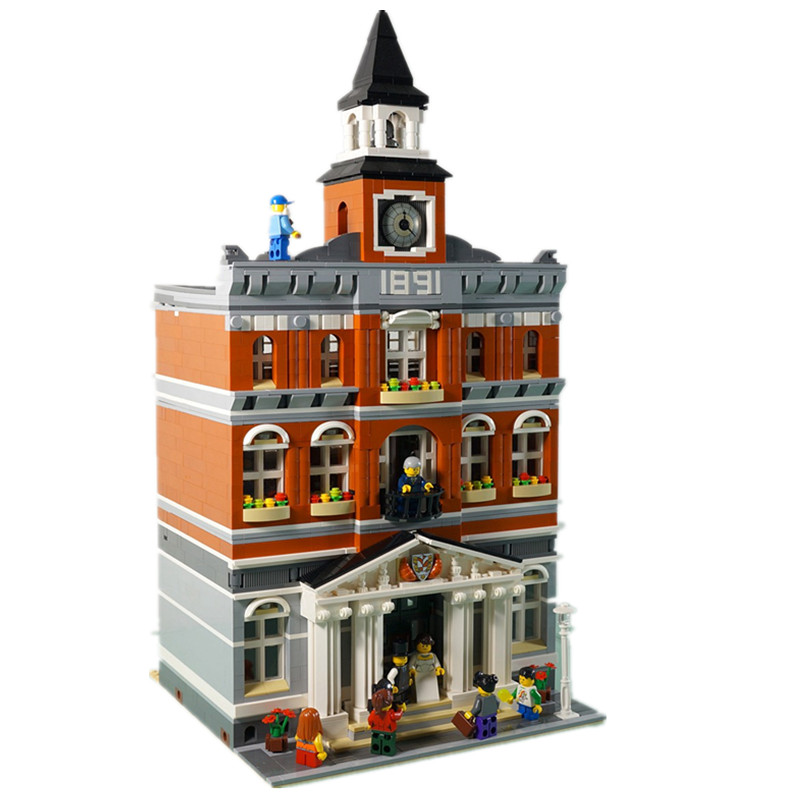 Model building 2859Pcs 15003 Kid's city Toys The town hall Model building kits Compatible with Lego 10224 3D Bricks figure toys lepin15003 2859pcs city series the town hall model building kits blocks kid toy gift compatible with 10224