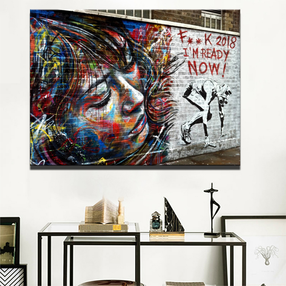 Aliexpress Buy Colorful Modern Girl On The Wall
