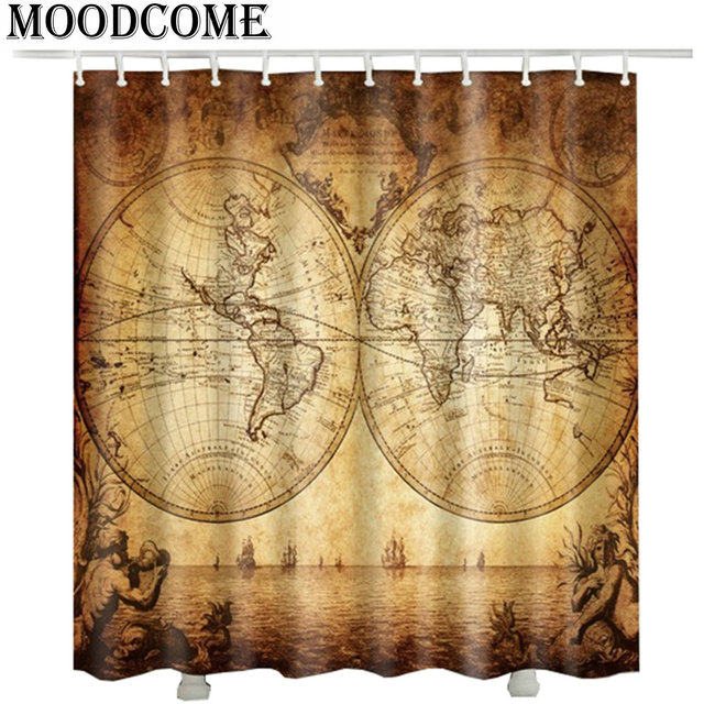 world map shower curtain fabric polyester 3D duschvorhang Age of