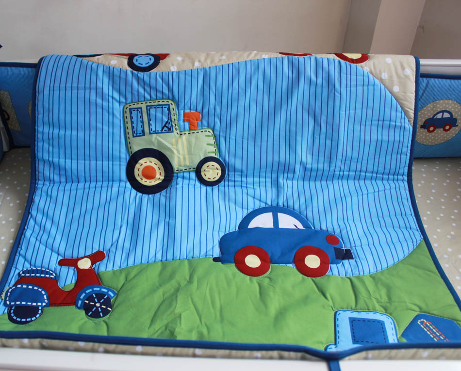 Wholesale 2016 6pcs Baby Bedding Set Embroidery Blue Car