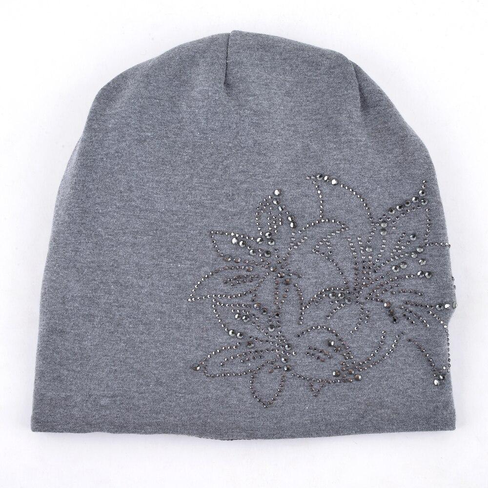 Female Beanie Bonnet Autumn And Winter Caps Hip-hop Cap Flower Rhinestone Hats For Women Beanies Balaclava Womens Skullies 1