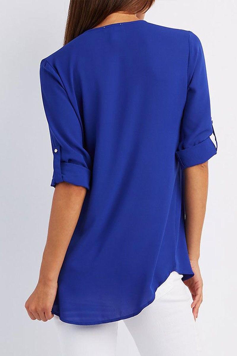 LOSSKY fashion v neck short sleeve summer chiffon womens tops 5