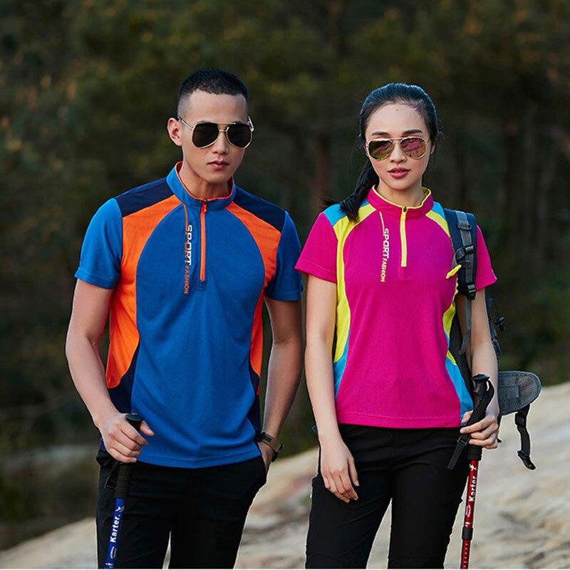 2018 Men Women Camping Shirt , Tops Gym Girl Hiking T-shirts , Outdoor Sport Short sleeved T Shirt Clothes , Tees Plus Size 5XL