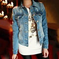 2016 women Blue jacket Long Sleeve Jean Coat Women Slim Denim Short Casual Jacket Outwear S-XL
