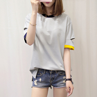 Poleras 드 Mujer 모다 2017 스트라이프 티셔츠 여성 탑 여름 느슨한 캐주얼 한국어 옷 중공 T 셔츠 팜므