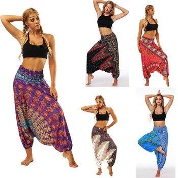 Damskie Spodnie sportowe w stylu casual, letnia Boho drukuj luźne Spodnie jogi workowate Harem Vintage Spodnie z wysokim stanem Spodnie Damskie Mujer