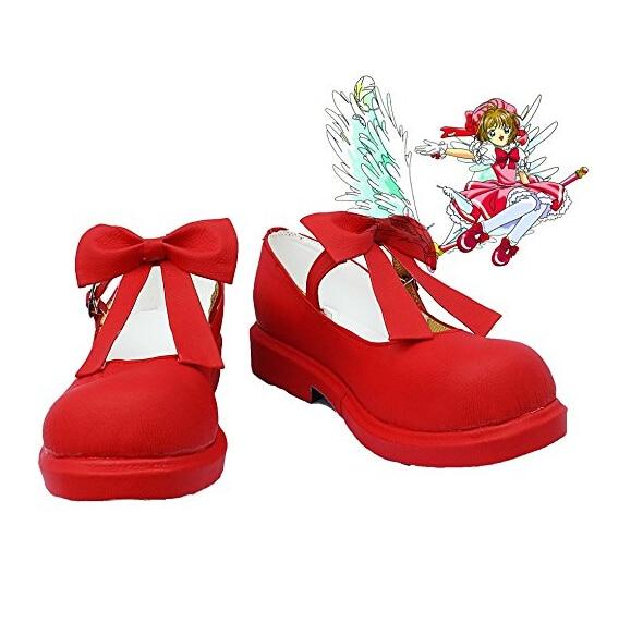 Anime Card Captor Shoes Sakura Cosplay Red Boots Sakura CardCaptor Shoes Halloween Carnival Women