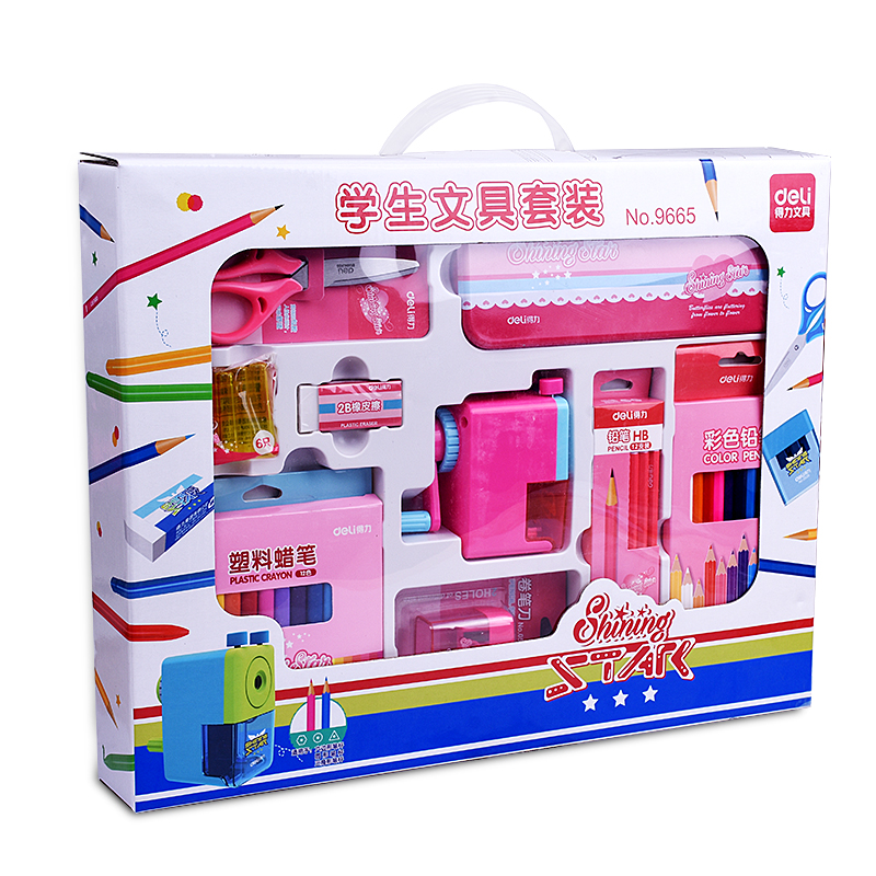 deli child puzzle stationery gift set toy paint brush crayon watercolor pen primary school students gift supplies Free shipping Deli 9665 child birthday gift elementary student school supplies spree stationery gift set