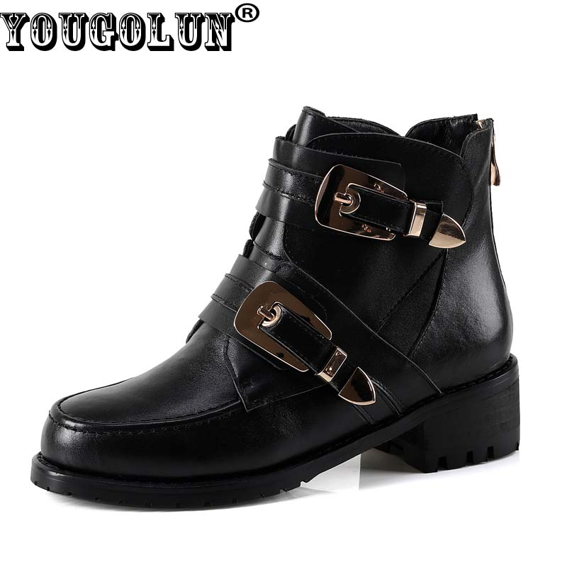 YOUGOLUN Women Ankle Boots 2017 Winter Autumn Genuine Leather Black Buckle Mid Square Heel 4.5 cm Heels Round toe Shoes #Y-183 fashion hot sale genuine leather low heels pointed toe rivets buckle square heel autumn winter women ankle boots