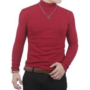 Image 3 - Camisa de t dos homens t shirt homem inverno térmica meia gola tshirt outono primavera camisetas mens quentes básicas grossas shirts tops roupas