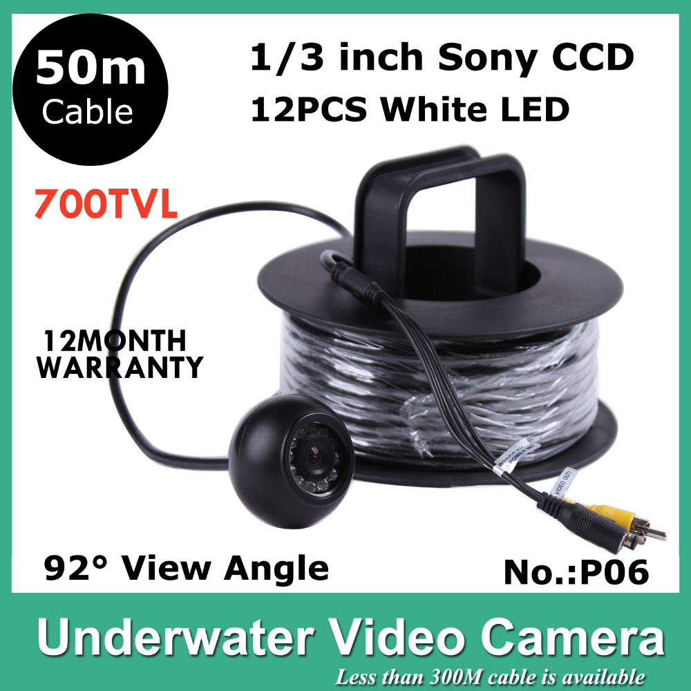50m Cable Underwater CCTV Camera for Fishing 12PCS LED LIGHTS 700 TVLINES Fishing Video Camera  Model CR-006P50M 6m length cable 8w deep drop underwater 50m night fishing boat lights 12v led green fishing lights