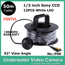 50m Cable Underwater CCTV Camera for Fishing 12PCS LED LIGHTS 700 TVLINES Fishing Video Camera Model CR-006P50M