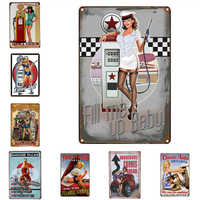 YVEVON Pin up Sexy Lady Tin sign Art wall Festival Decoration Pub Cafe Bar Party Vintage Garage Car Shop Metal Painting 20*30 CM