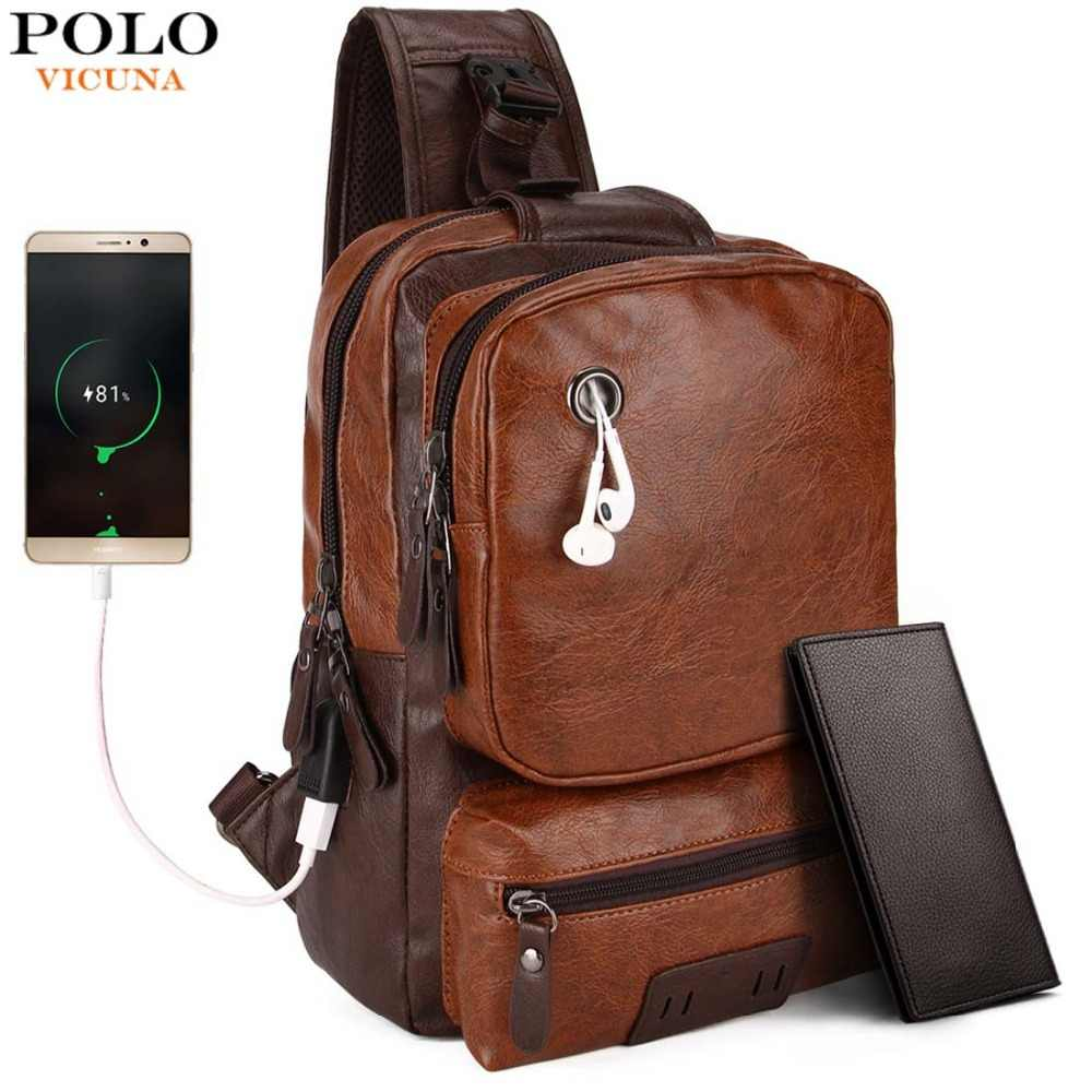 abe595133e VICUNA POLO Anti-theft External USB Charge Messenger Bag Patchwork Men  Crossbody Bag Large Capacity