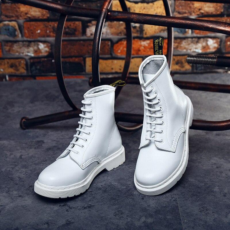 Automne Véritable En Cuir Rétro Femmes de bottes de moto De Mode blanc Femmes Bottes Femme Punk Gothique chaussures à semelles compensées