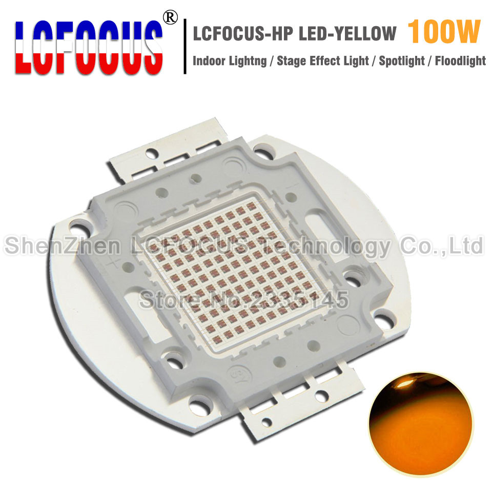 High Power LED Chip 100W Yellow 590-595nm SMD COB Diode For 100 200 300 500 W Watt Outdoor Wall Floodlight Light Beads