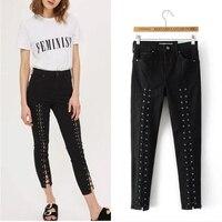 Novo Jeans de Cintura Alta Jeans Skinny Mulher Legal Preto Bandage Lápis Jeans Para As Mulheres calças de Comprimento No Tornozelo Rendas até Calças Jeans