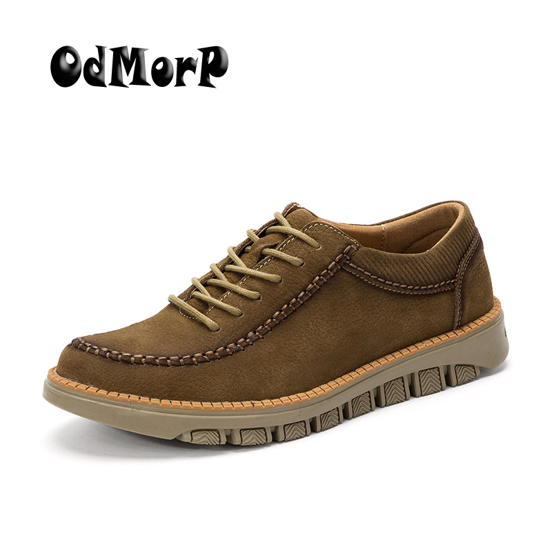 ODMORP Genuine Leather Men Shoes Handmade High Quality Comfort Moccasin Lace Up Casual Shoes New Fashion Luxury Shoes hot sale mens italian style flat shoes genuine leather handmade men casual flats top quality oxford shoes men leather shoes
