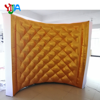 Diamond Pattern Curve Portable Inflatable Photo booth walls backdrops with LED strip top and bottom For Party