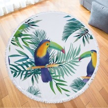 Soft Round Printed Flower With Leaves Microfiber Beach Towel For Adult Yoga Mat Sofa Blanket Modern Living Room Rug leaves flower pattern round beach throw
