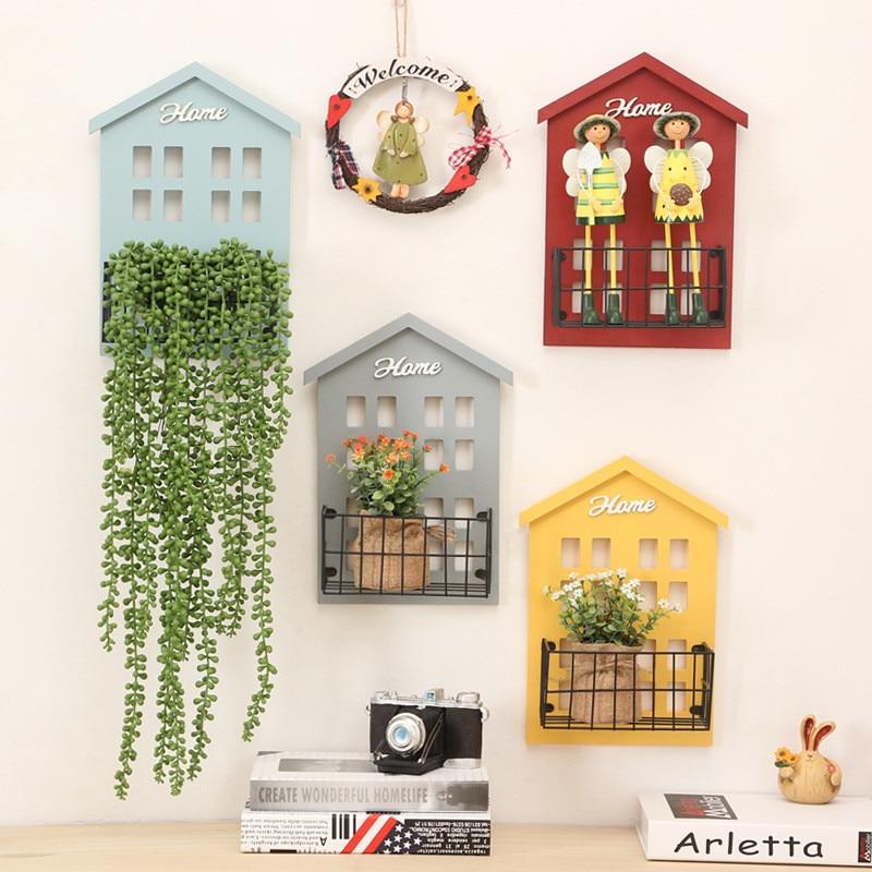 Home Storage Decoration Wood Vintage Wooden Storage Racks Wall Hanging  Decorative Storage Box Flower Pot House