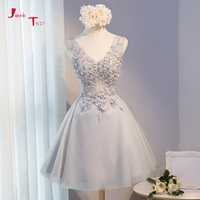 Jark Tozr 2018 New Arrive V neck Lace Up Short Gowns Vestido De Festa Beaded Appliques Flowers Homecoming Dresses For Graduation