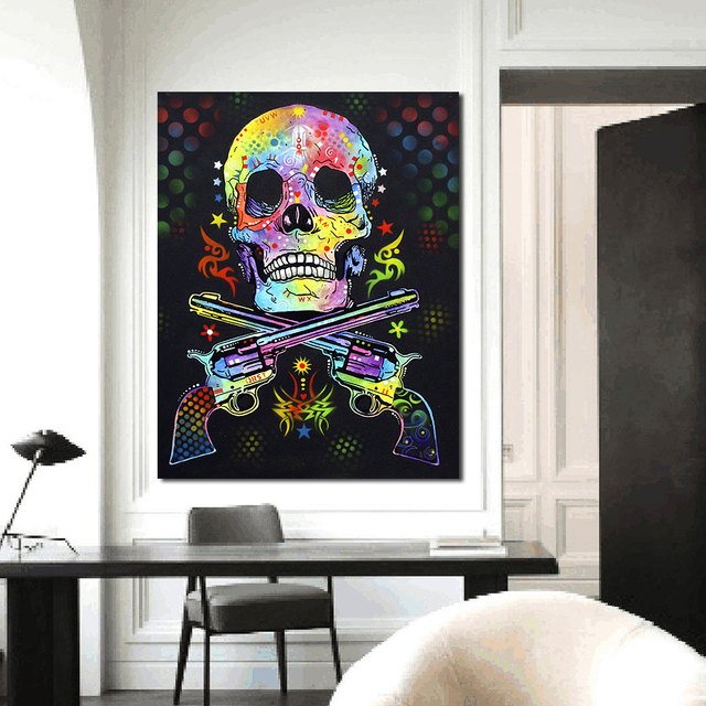 QCART Wall Pictures For Living Room Canvas Art Abstract Colorful Painting  Skull And Guns Woman Home