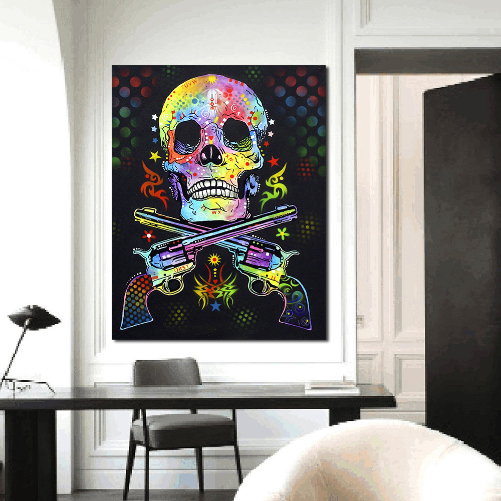QCART Wall Pictures For Living Room Canvas Art Abstract Colorful Painting Skull and Guns Woman Home Decor Landscape Painting