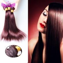 Ms Lula Hair 8-30inch 99j Indian Hair Silky Straight 3pcs Dark Wine Burgundy Indian Hair Weave Bundles Red Human Hair Extensions