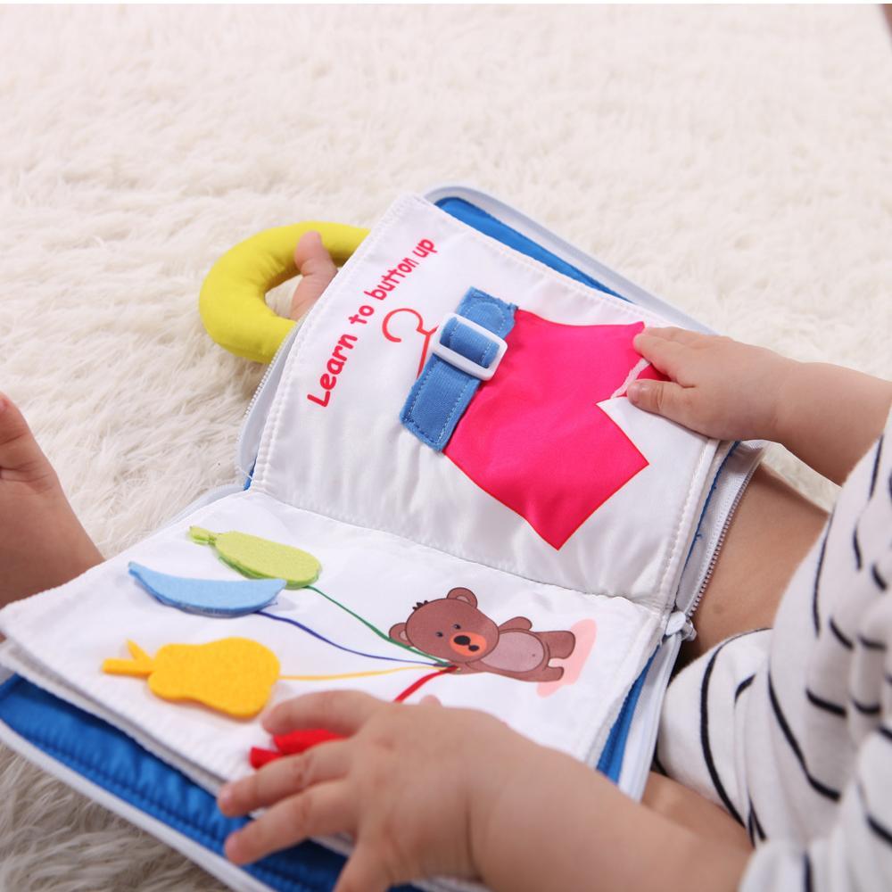 Montessori Toys Fabric Baby Book Life Skills Training Montessori Materials Quiet Book Educational Toys For Chilrdren Cloth Book