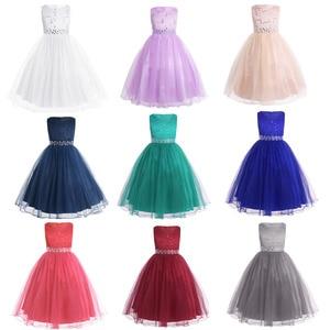 Image 2 - iiniim 2 14 Years Toddle Costume Tutu Baby Girls Flower Mesh Lace Dress Birthday Party Princess Dress Kids Communion Dresses