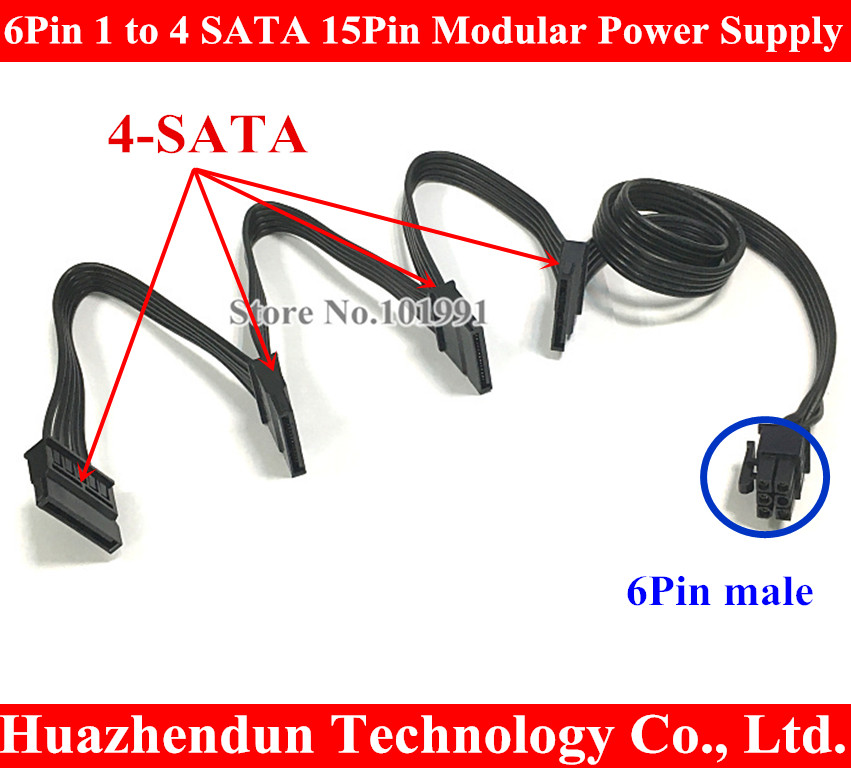 DHL 6Pin Male 1 to 4 SATA 15Pin Power Supply Splitter Extension Cable 15P Power Port Multiplier for Seasonics KM3 Series Modular