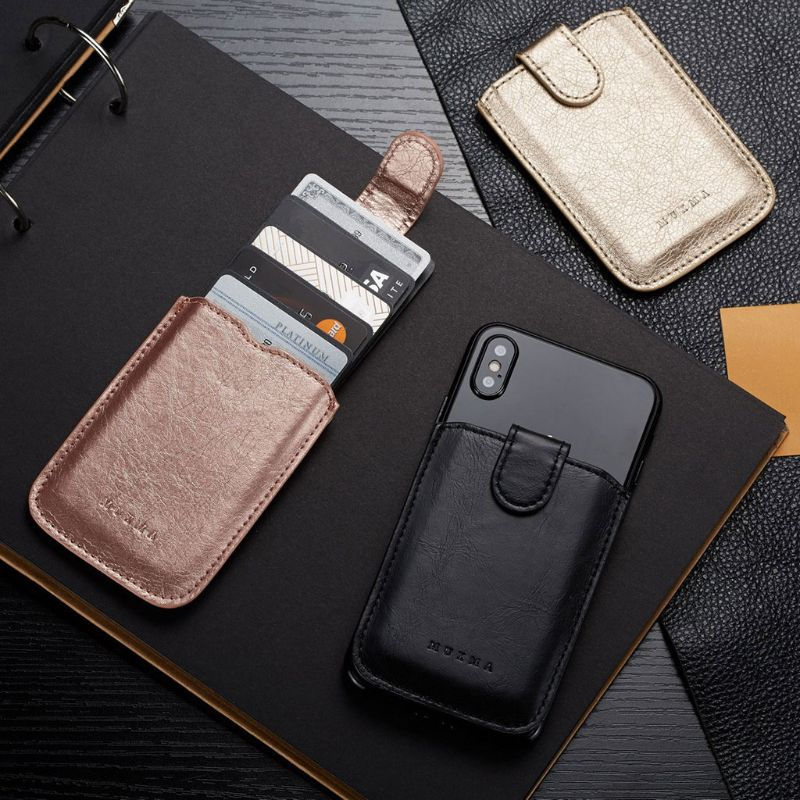 Fashion New Men Women PU Leather Wallet Card Holder Bag Adhesive Holder Case Pouch Sticker For Cell Phone 5 Card Pockets