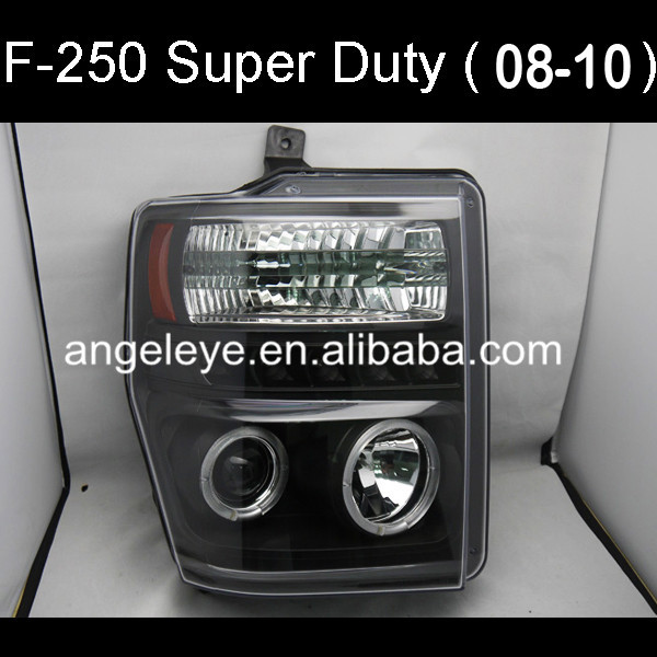 Pour FORD Raptor F250 F350 F450 F550 Super Duty LED phare CCFL Angel Eyes couleur noire 2008-2010 an
