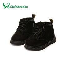 Claladoudou 13.5-18.5 cm niños Zapatos Cuero auténtico niños cálido invierno escuela Botas para Niñas niño Niños negro moda Zapatos