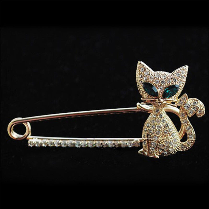 New Gold Silver Plated Animal Brooches Pins Fashion Green Eye Crystal Cat Brooches