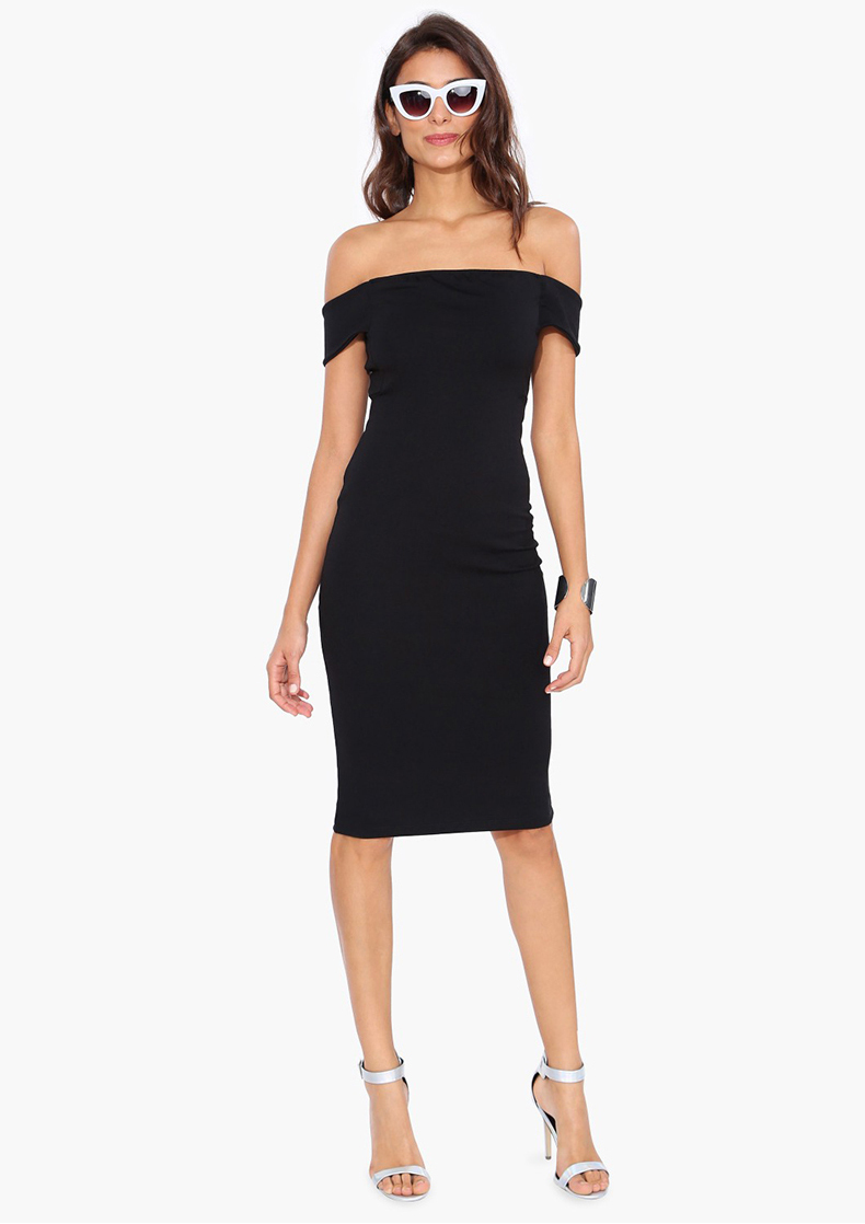 Black Knee Length Tube Dress