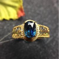 Сапфировое Кольцо 18 k Золотое кольцо натуральный и настоящий Сапфир ювелирные изделия синий драгоценный камень 5*7 мм