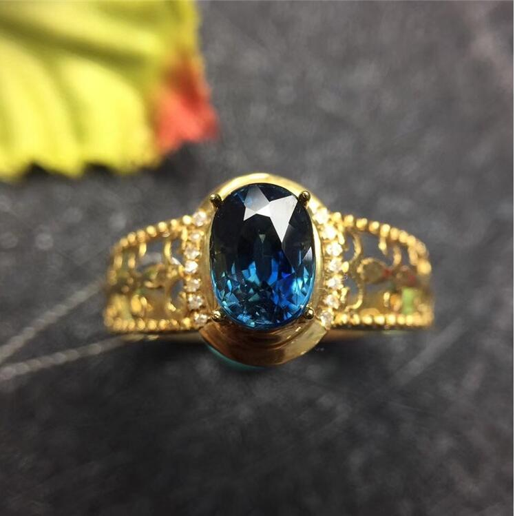 Sapphire ring 18k  gold ring  Natural and real sapphire Fine jewelry Blue gem 5*7mmSapphire ring 18k  gold ring  Natural and real sapphire Fine jewelry Blue gem 5*7mm