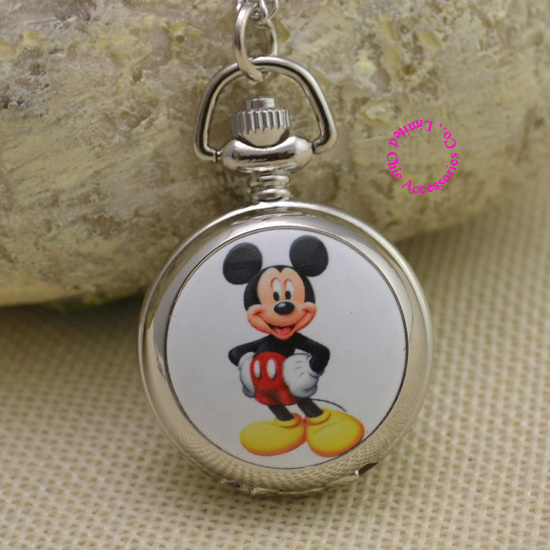 Fashion cute mouse picture quartz Pocket Watch Necklace Women Ladies girl fob watches silver antibrittle silver colorful mirrow