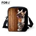 Forudesigns 2017 pequeñas bolsas escolares para las niñas niños casual 3d linda mascota pug dog cat prints niños mochilas kindergarten mochila