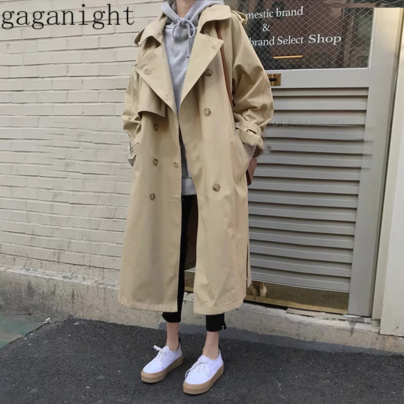 Gaganight 2019 Spring Autumn New Women Casual   Trench   Coat Elegant Long Oversize Double Breasted Vintage Outwear Loose Clothing