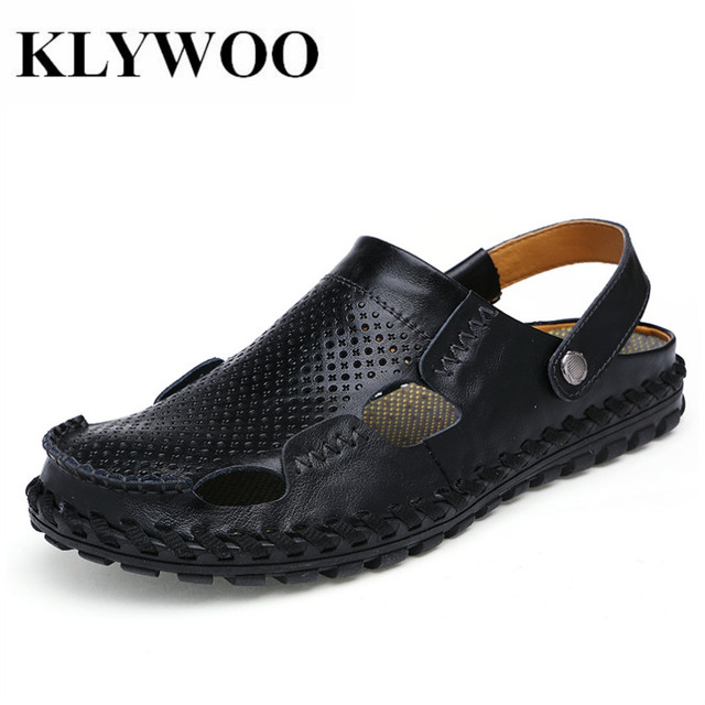 9c01b53dfd KLYWOO Mens Casual Shoes Fashion Sandals Summer Men s Slippers Leather Shoes  Beach Breathable Home Slippers Flip-Flops Zapatos