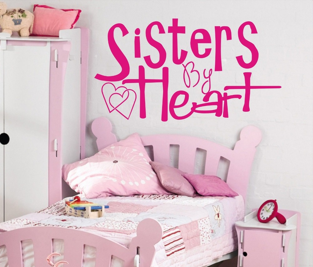 Sisters By Heart Wall Art Sticker Quote Children Bedroom / Teenagers Room  Wall Decals 3 Sizes