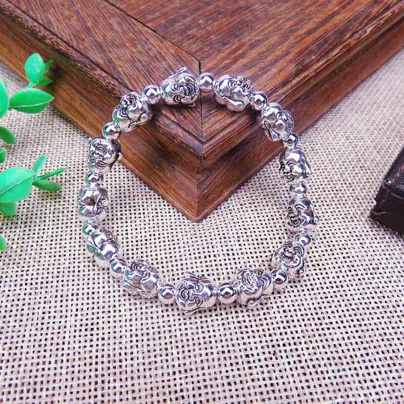 Imitation Silver Buddha Bracelet Silver Beaded Bracelet Men's and Women's Pulseras Hombre N4-8