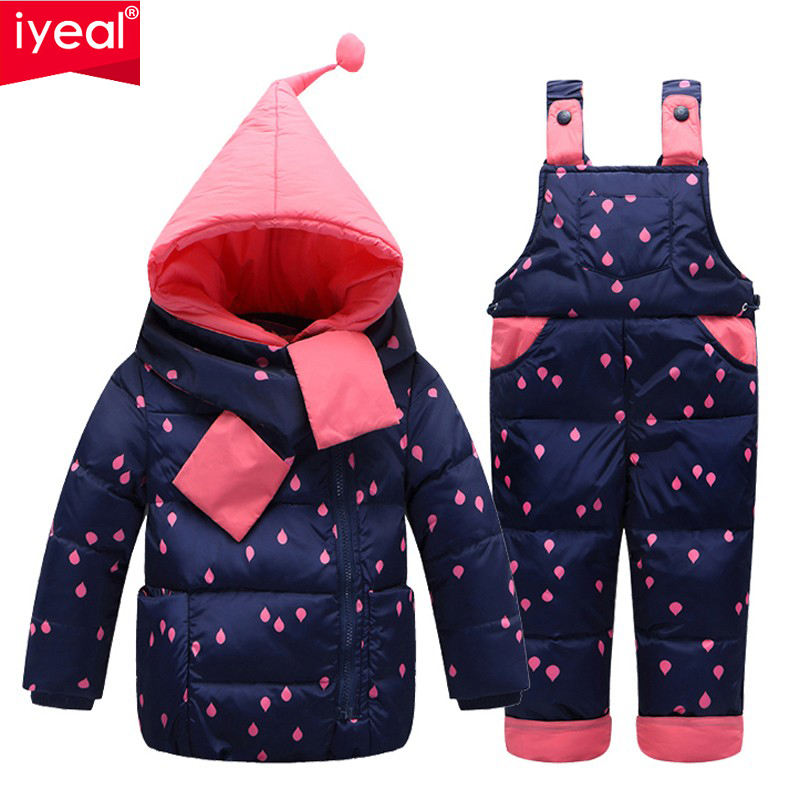IYEAL Children Girls Winter Warm Down Jacket Suit Thick Coat+Jumpsuit Baby Clothes Set Kids Hooded Jacket With Scarf for 1-3 Y newborn boys girls winter warm down jacket suit set thick coat overalls suits baby clothes set kids hooded jacket with scarf