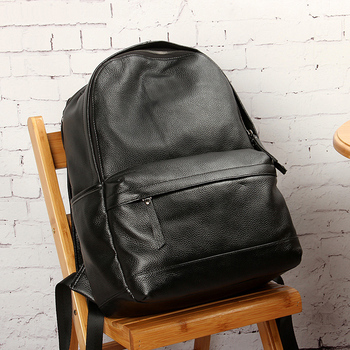 Genuine leather Backpack Black Contractive Leather Backpack for Men USB Charging Male Travel Backpack Business backpack фото