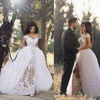 2019 New Arabic Romantic Off Shoulder Wedding Dress With Detachable Train Sheer Applique Vestido De Noiva Bridal Gowns